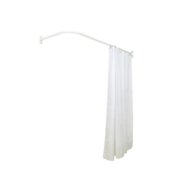 Utopia Alley 66 In Shower Curtain Rod Rustproof L Shaped Corner In White Lr1ww The Home Depot