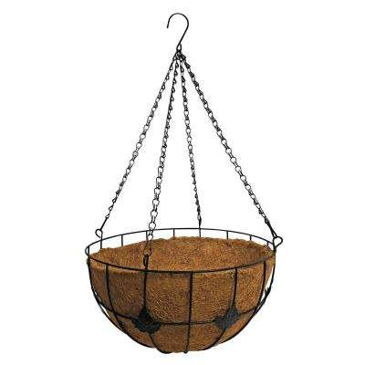 14 in. Metal Hanging Basket Planter with Maple Leaf Coco Liner