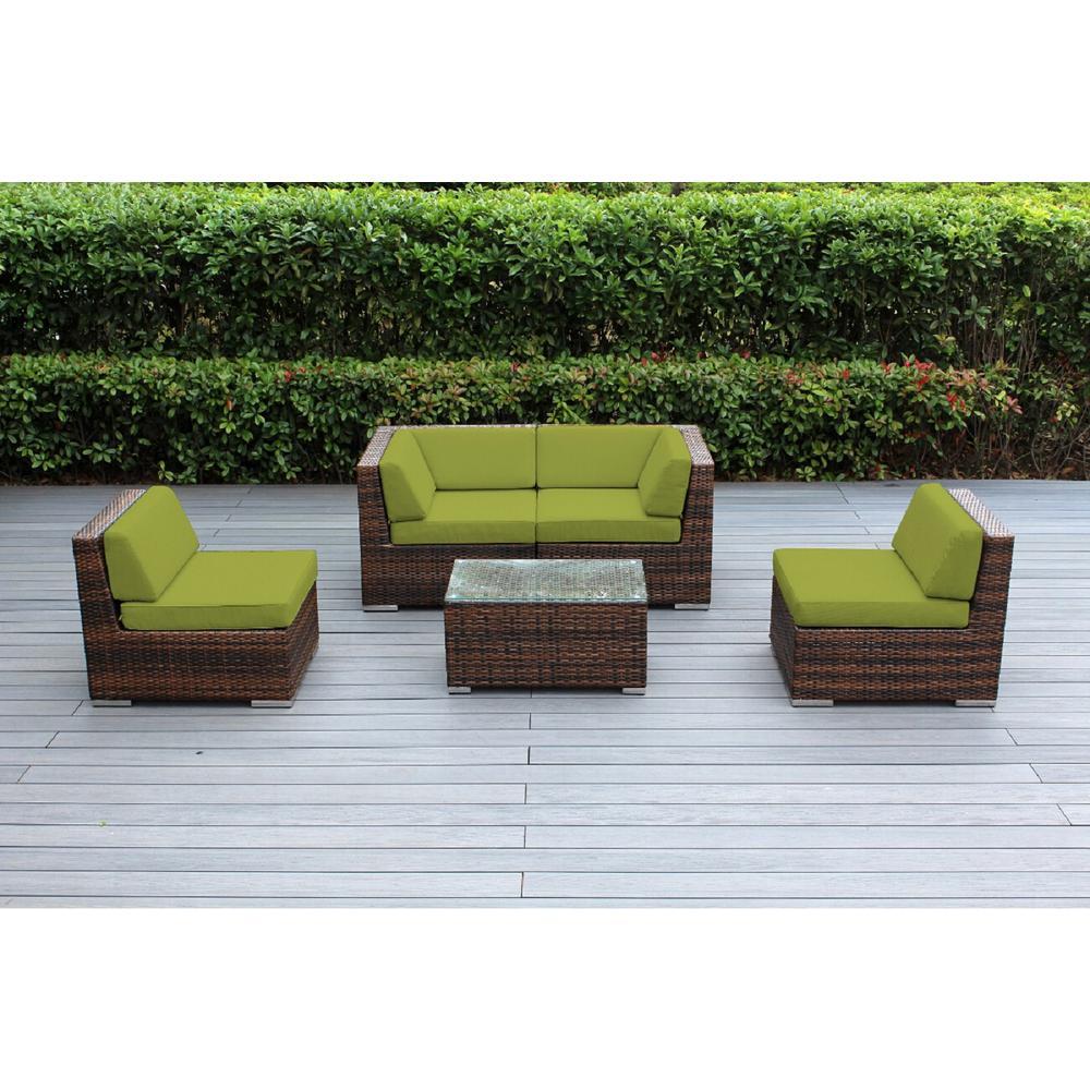 Ohana Mixed Brown 5-Piece Wicker Patio Seating Set with Spuncrylic Peridot Cushions