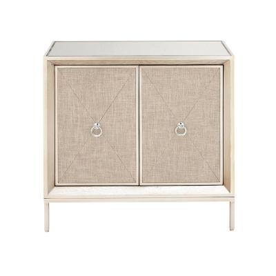 32 in. W x 32 in. H Beige Metal, Wood, and Mirror 2-Door Cabinet