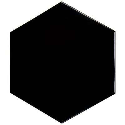 Hexatile Glossy Nero 7 in. x 8 in. Ceramic Floor and Wall Tile (2.2 sq. ft. / pack)