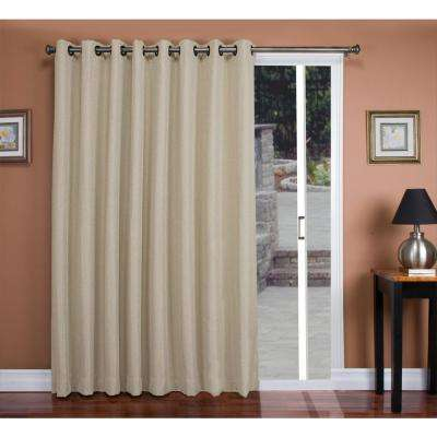double window curtains white polyester double blackout grommet patio panel parchment curtains drapes window treatments the home depot