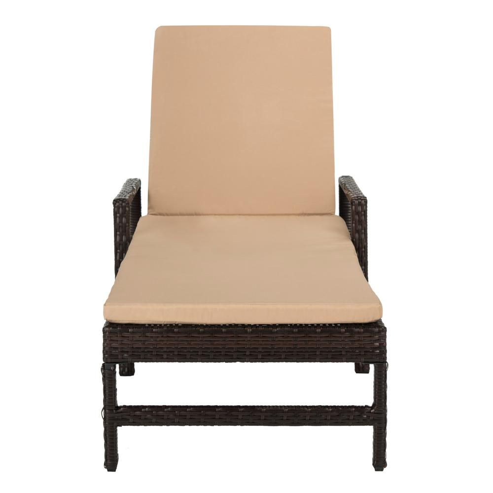 Safavieh Alma Brown Adjustable Wicker Outdoor Lounge Chair with Beige Cushion