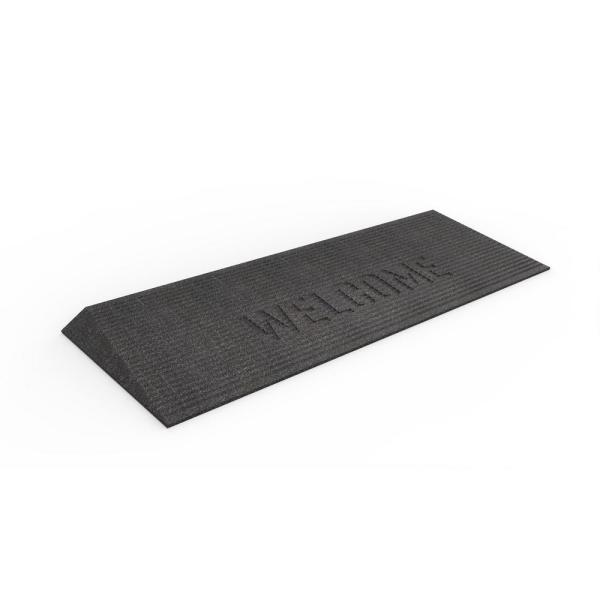 TRANSITIONS Black 40 in. W x 14 in. L x 1.5 in. H Rubber Angled Entry Door Threshold Welcome Mat