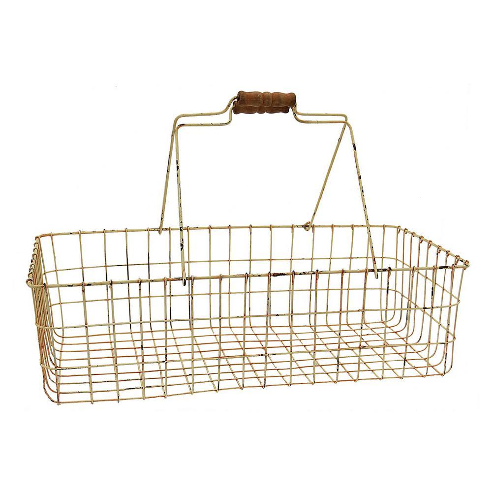 23.5 in. x 10 in. Metal Basket in White