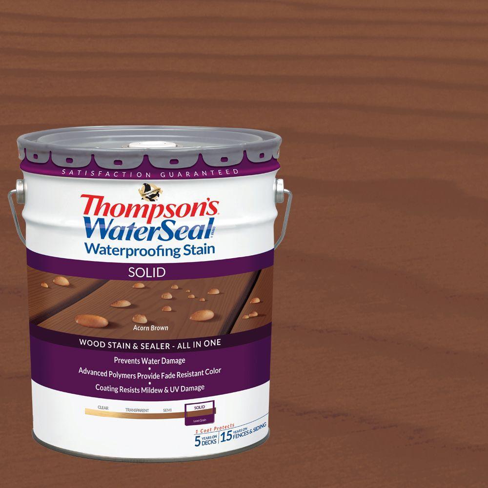 5 gal. Acorn Brown Solid Waterproofing Stain Exterior Wood