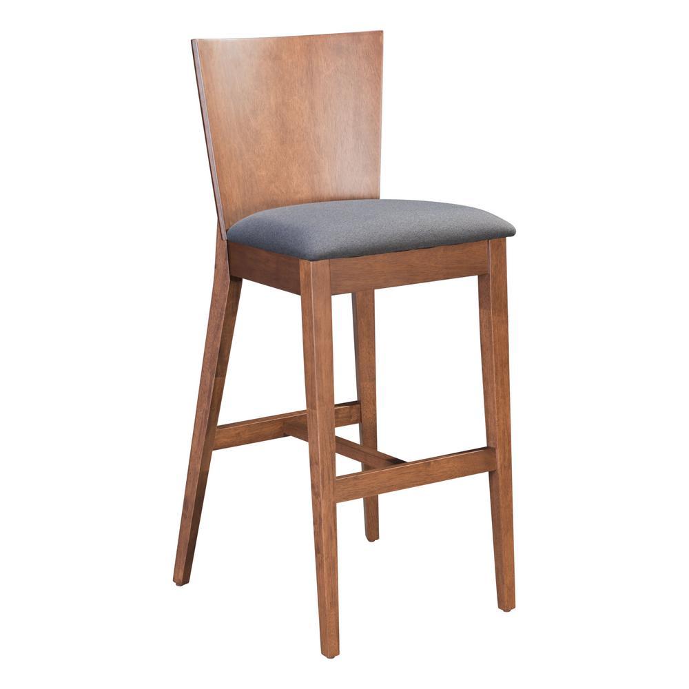 ZUO Ambrose 45.1 in. Walnut and Dark Gray Bar Chair (Set