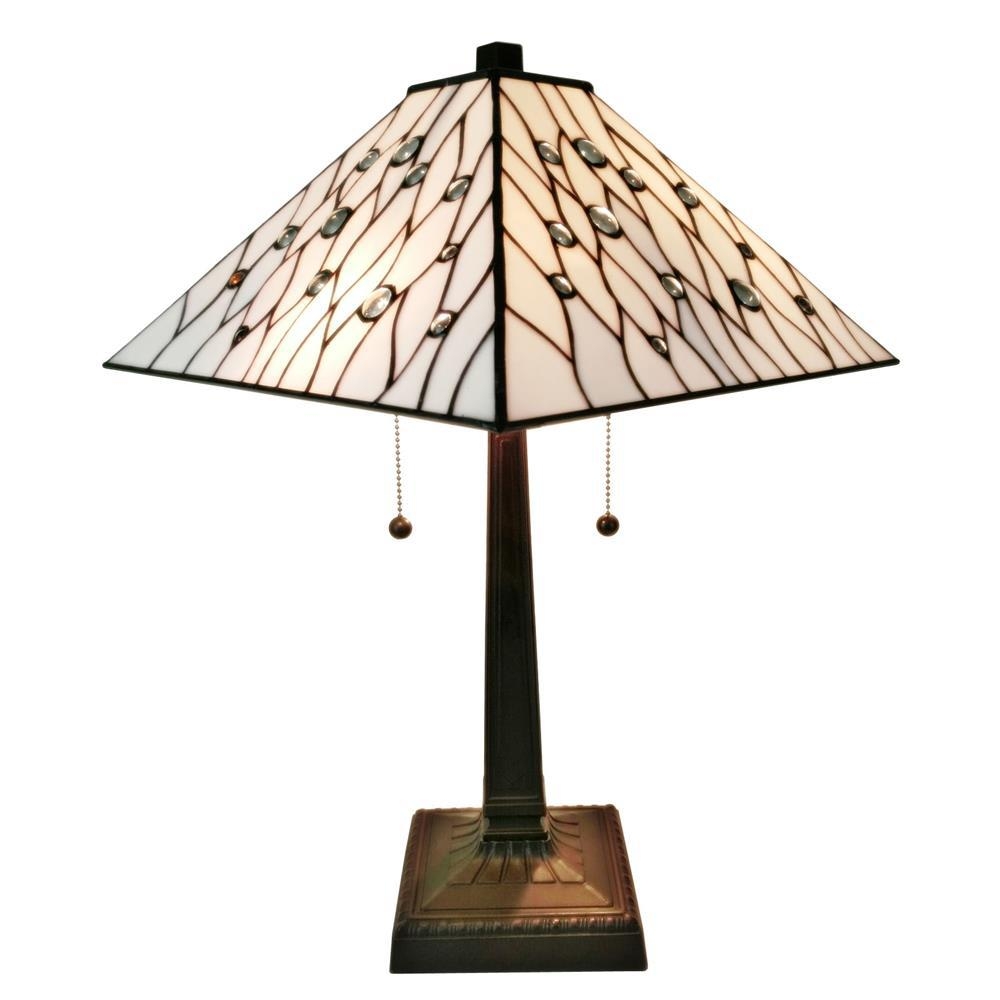 21 in. Tiffany Style White Mission Table Lamp