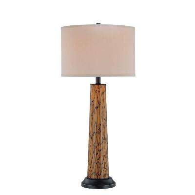 33 in. Bronze Table Lamp with Amber Fabric Shade