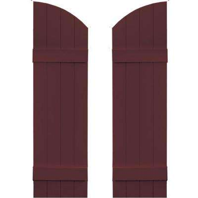 14 in. x 45 in. Board-N-Batten Shutters Pair, 4 Boards Joined with Arch Top #167 Bordeaux