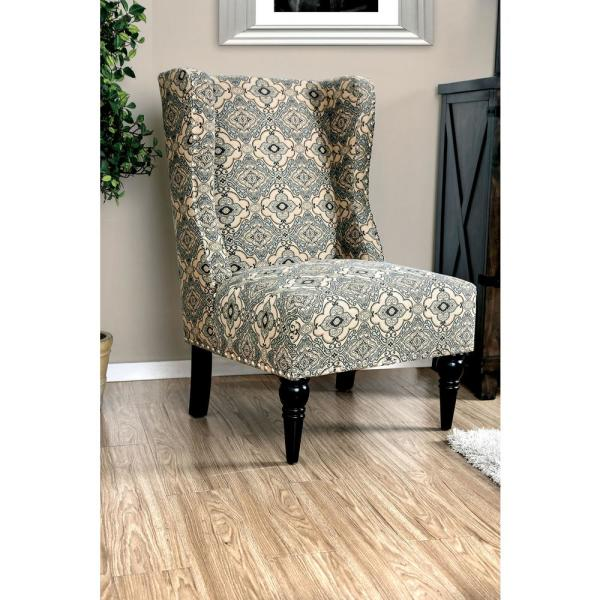 Elche Gray Accent Chair with Tan Pattern CM-AC6182A