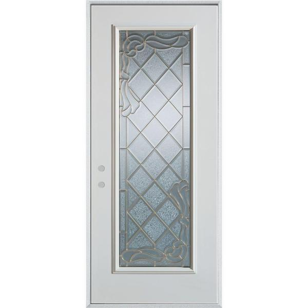 32 in. x 80 in. Art Deco Full Lite Painted White Right-Hand Inswing Steel Prehung Front Door