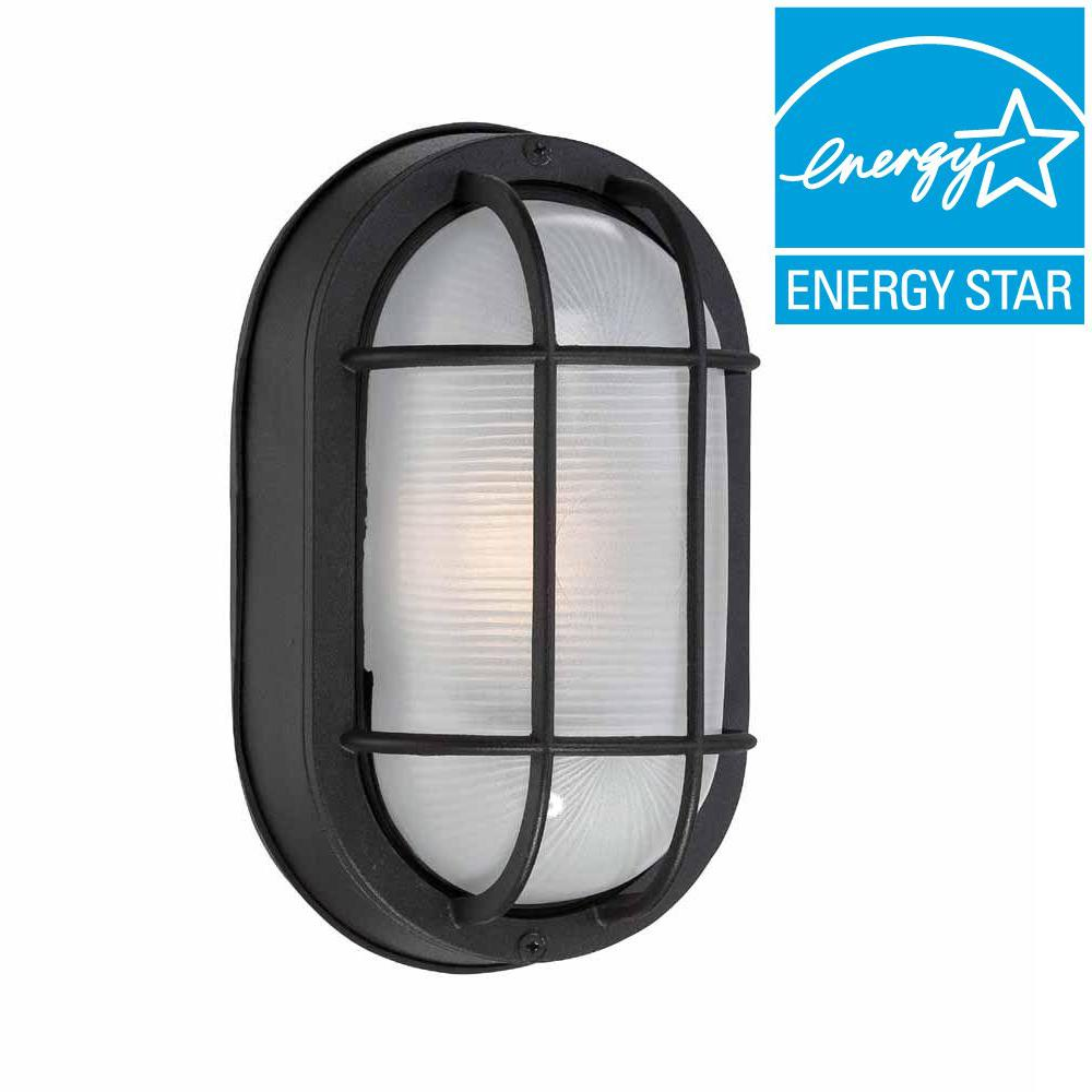 Hampton Bay Black Outdoor Led Wall Lantern Hb8822led 05