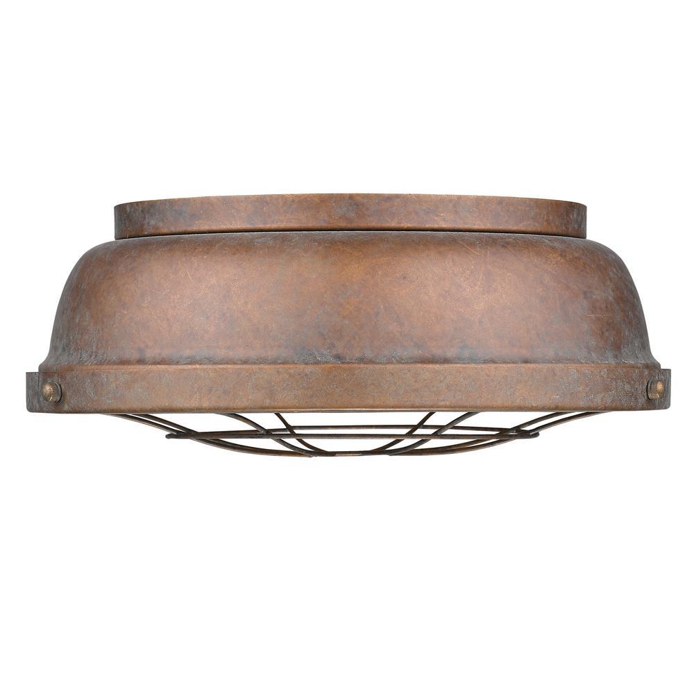 Golden Lighting Bartlett 2 Light Copper Patina Flushmount