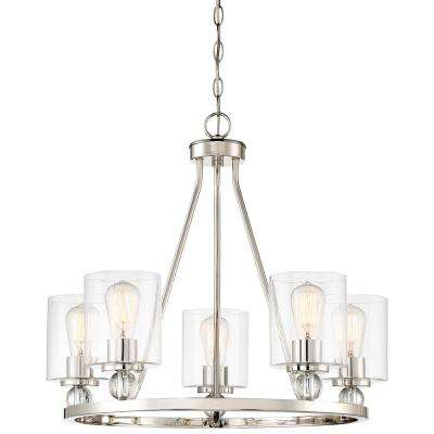 Studio 5 Collection 5-Light Polished Nickel Chandelier with Clear Glass Shades