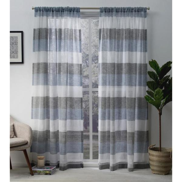 Bern 54 in. W x 96 in. L Sheer Rod Pocket Top Curtain Panel in Indigo (2 Panels)