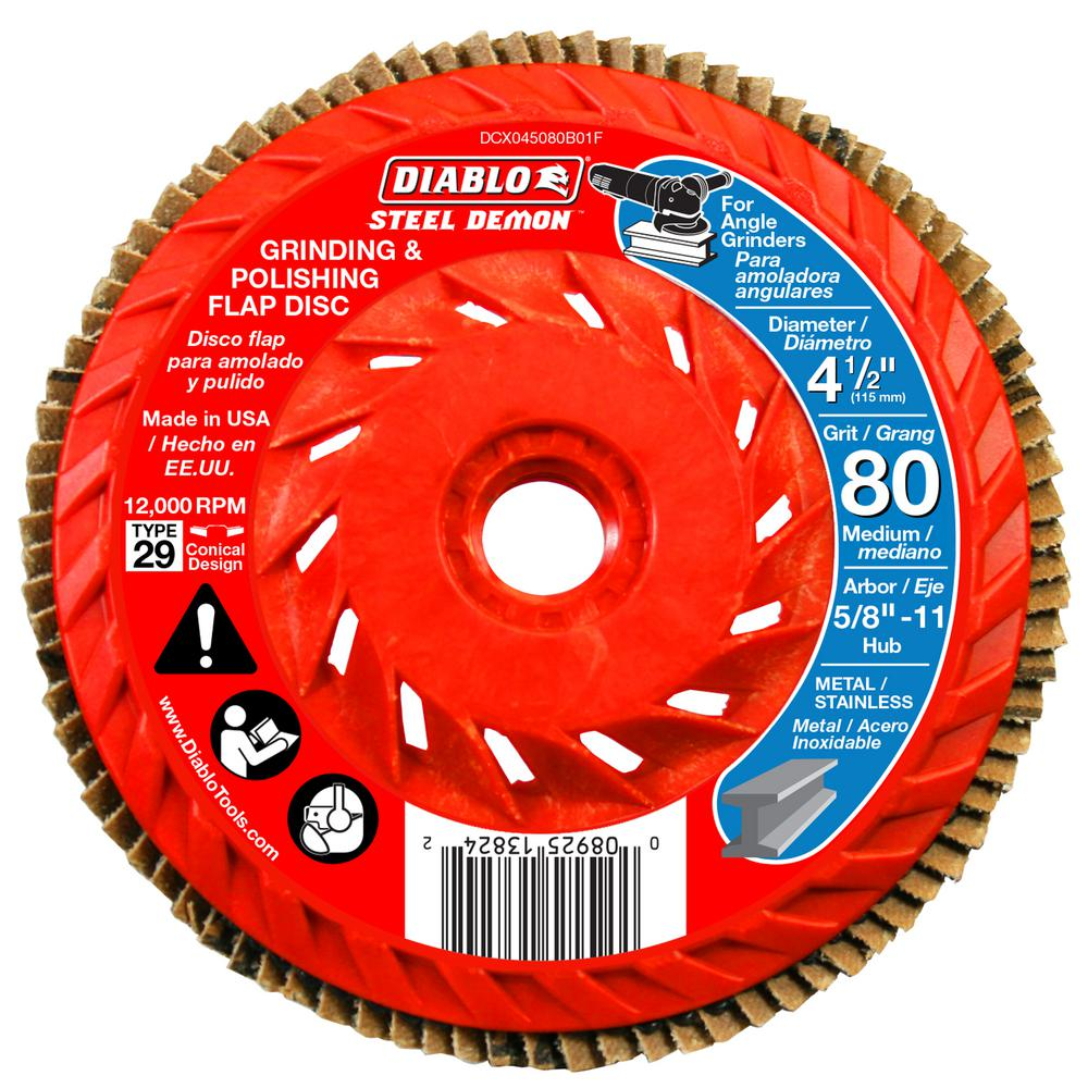 "Forney Thread Arbor Flap Disc 80grit 4-1//2 /"" X 5//8 /"" 11 /"""