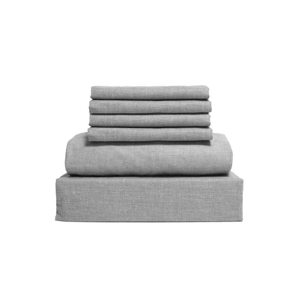 Chambray 6-Piece Gray Cotton/Polyester King Sheet Set