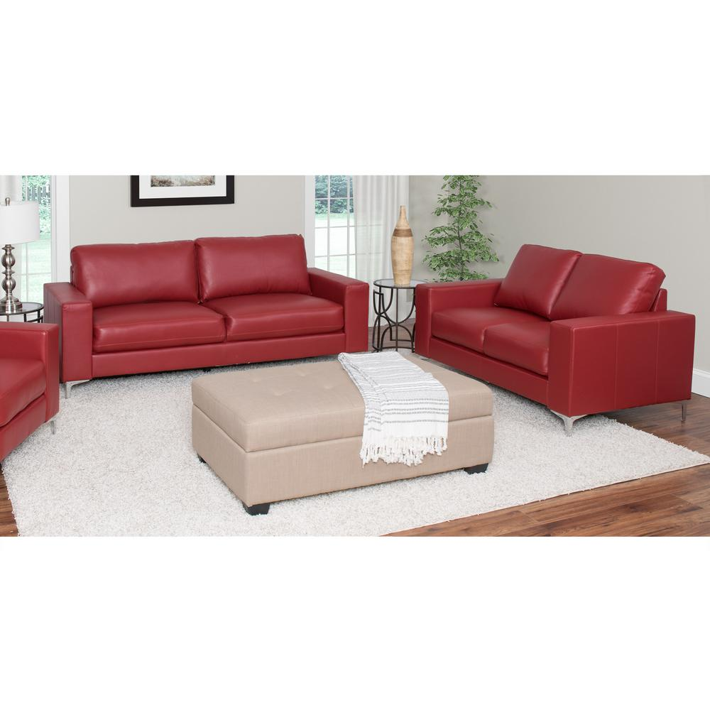 CorLiving Cory 2-Piece Contemporary Red Bonded Leather Sofa Set-LZY ...