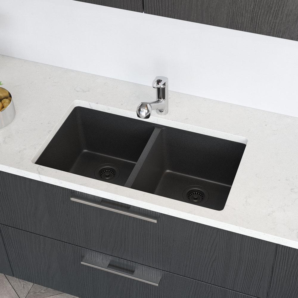 Rene Undermount Composite Granite 32-1/2 in. Double Bowl Kitchen Sink in  Carbon