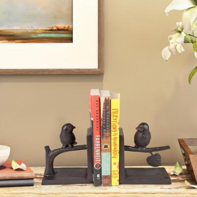 Brown Metal Cast Iron Birds on Branch Animals Bookends (Set of 2)