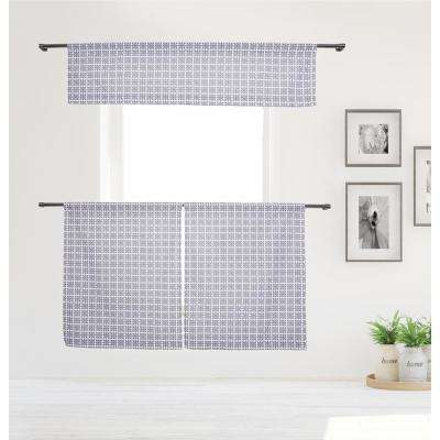 Angelica Kitchen Valance in Tiers/Grey - 15 in. W x 58 in. L (3-Piece)