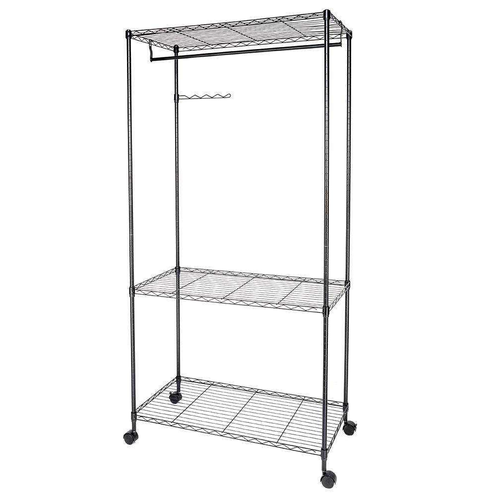35 in. x 71 in. Black Carbon Steel Garment Rack with