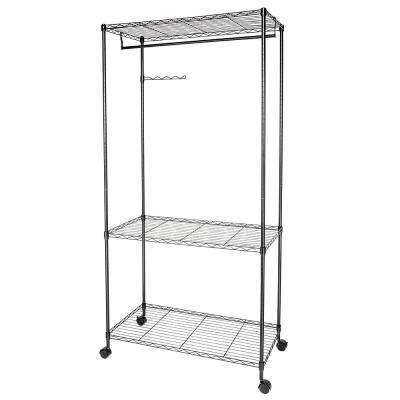 35 in. x 71 in. Black Carbon Steel Garment Rack with Wheels and Rotating Wave Hook Black