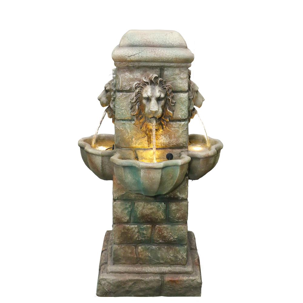 38 in. Tall Lion Head Outdoor Water Fountain with Natural Looking