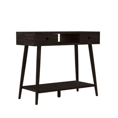 Freemont 35.43 in. Dark Espresso Rectangle Solid Wood Console Table with 2-Drawers