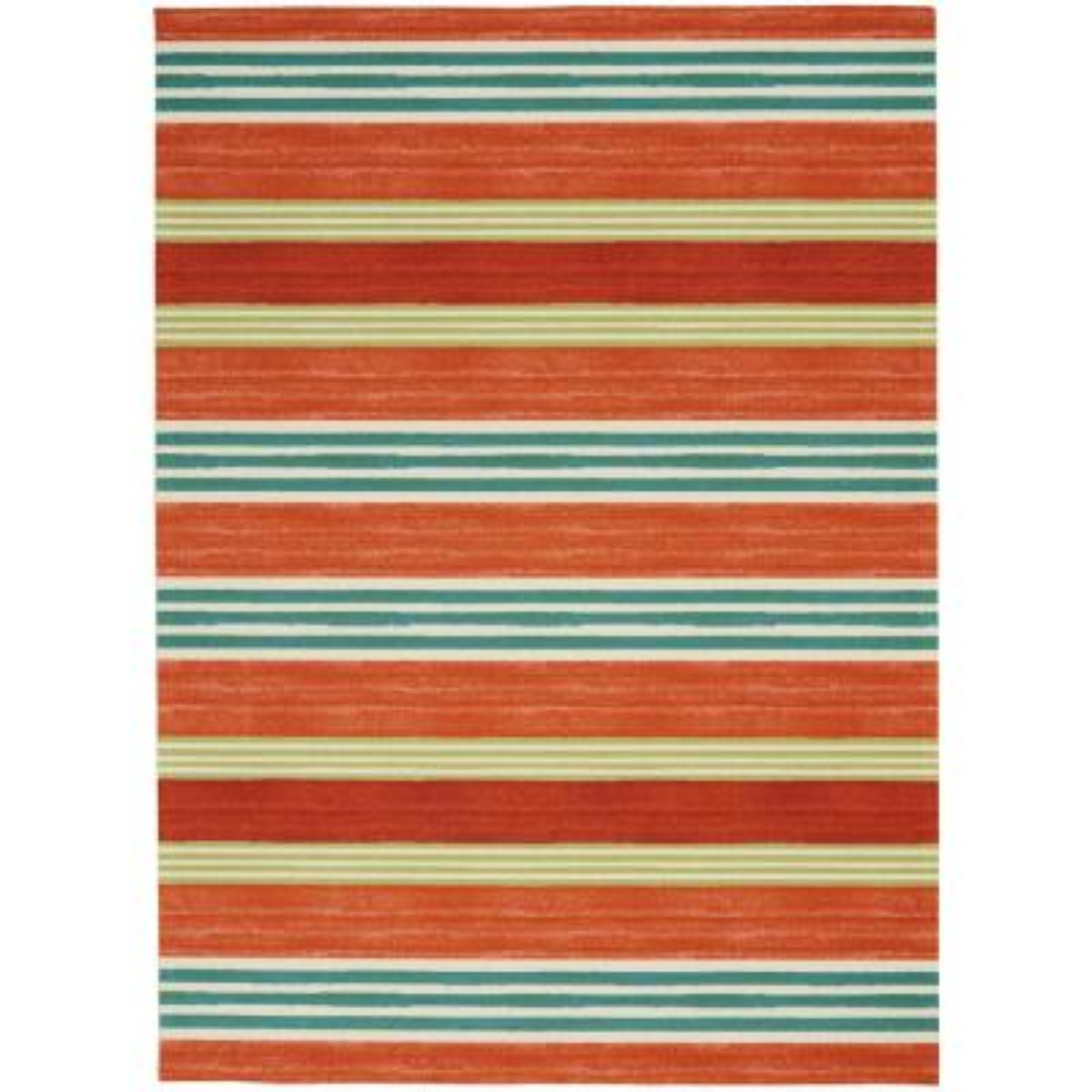 Sun N Shade Orange 5 ft. x 8 ft. Striped Contemporary Area Rug