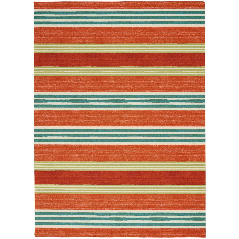 Sun N Shade Striped Orange 5 ft. 3 in. x 7 ft. 5 in. Area Rug