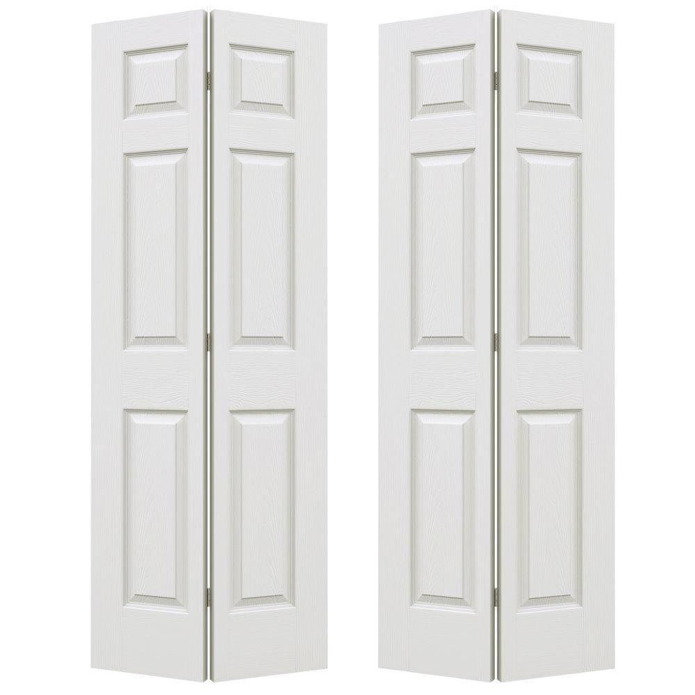 72 in. x 80 in. Colonist Primed Textured Molded Composite MDF Closet Bi-Fold Double Door