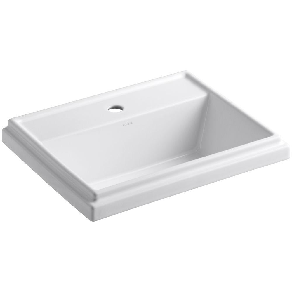 KOHLER Tresham DropIn Vitreous China Bathroom Sink In White With - How much does a new bathroom sink cost