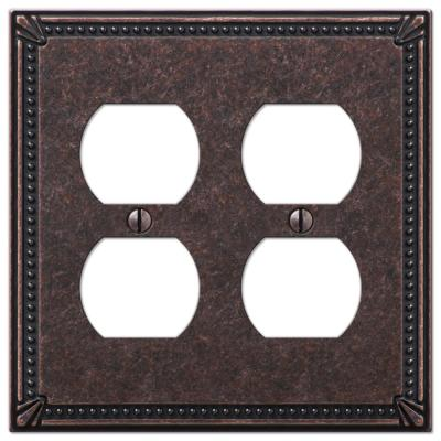 Imperial Bead 2 Gang Duplex Metal Wall Plate - Tumbled Aged Bronze