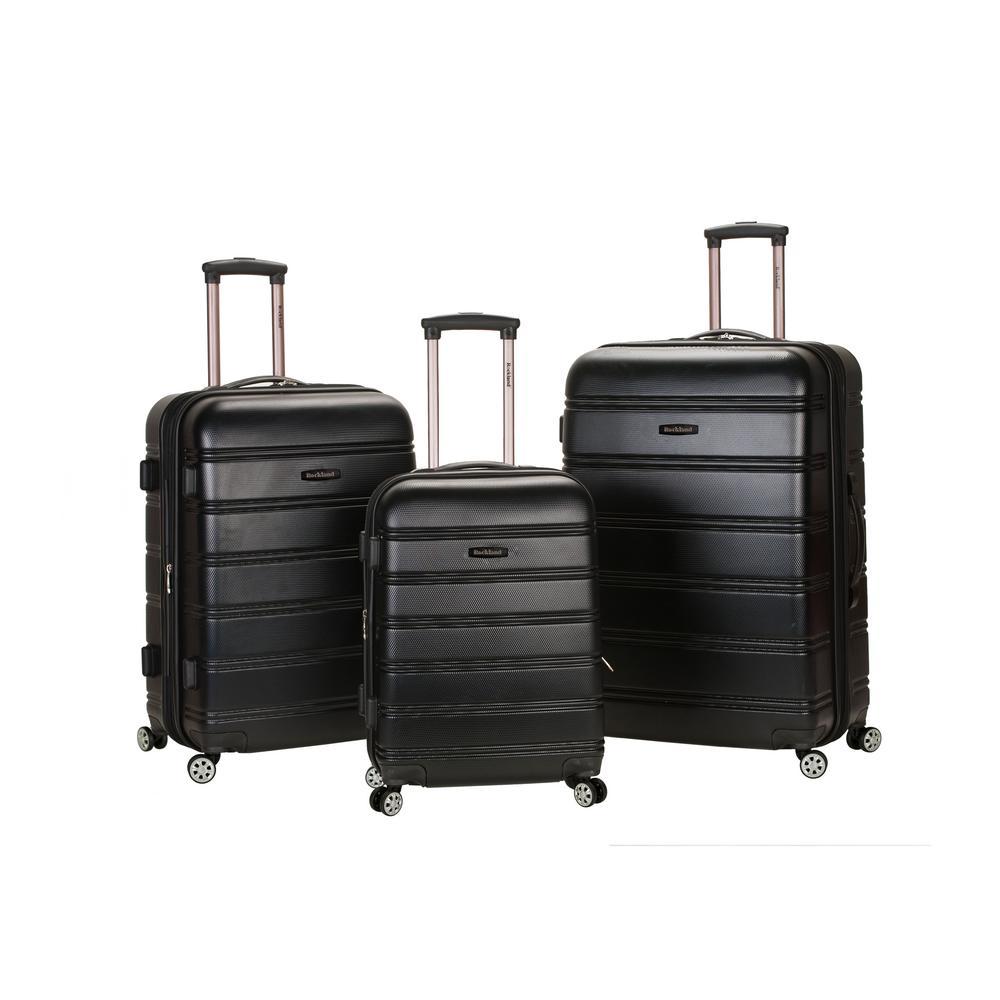 Rockland Melbourne 3-Piece Hardside Spinner Luggage Set, Black