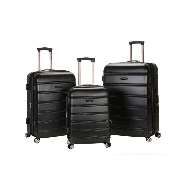 Rockland Rockland Melbourne 3-Piece Hardside Spinner Luggage Set, Black F160-BLACK