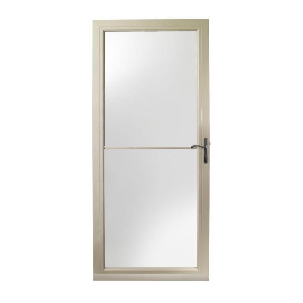36 in. x 80 in. 3000 Series Sandtone Right-Hand Self-Storing Easy Install Storm Door with Oil-Rubbed Bronze Hardware