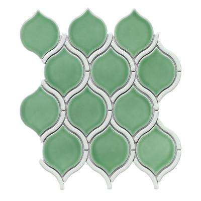 Divine Zeus Glossy 10.47 in. x 11.73 in. x 8mm Ceramic Mesh-Mounted Mosaic Tile