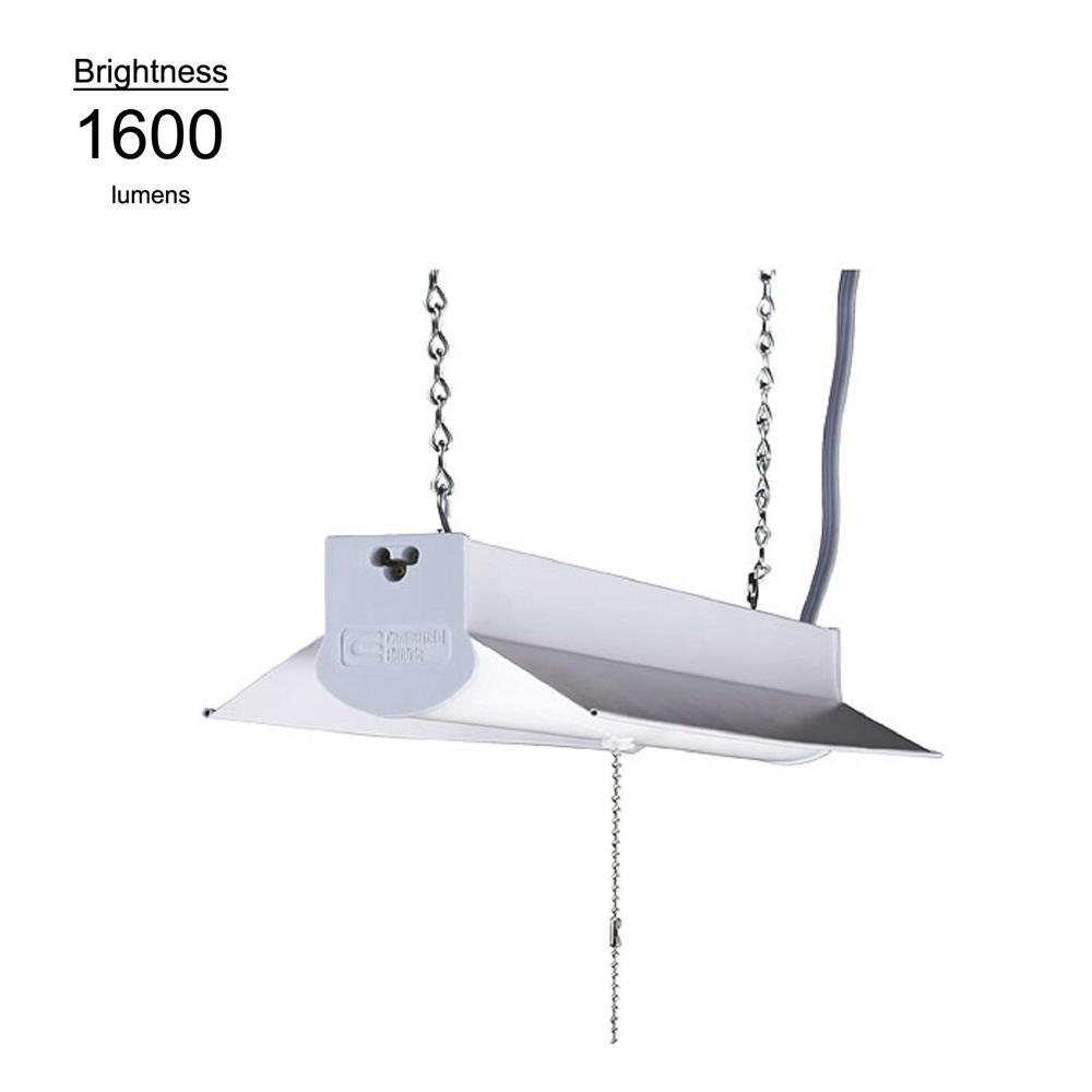 2 ft. White Integrate LED Linkable Shoplight w/ 5 ft. Linking Cord 18 Watt, 1600 Lumens, 4000K Bright White