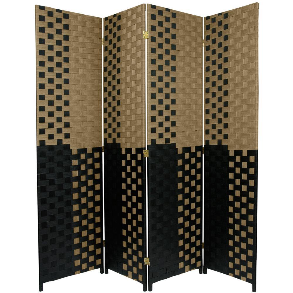 6 ft. Black and Tan Woven Fiber 4-Panel Room Divider