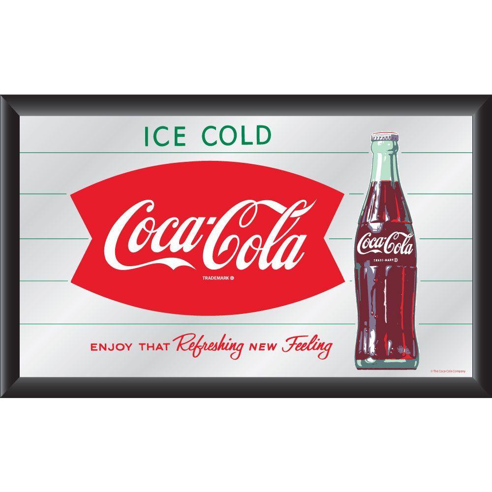 Coca-Cola Vintage Refreshing New Feeling 15 in. x 26 in. Black Wood Framed Mirror