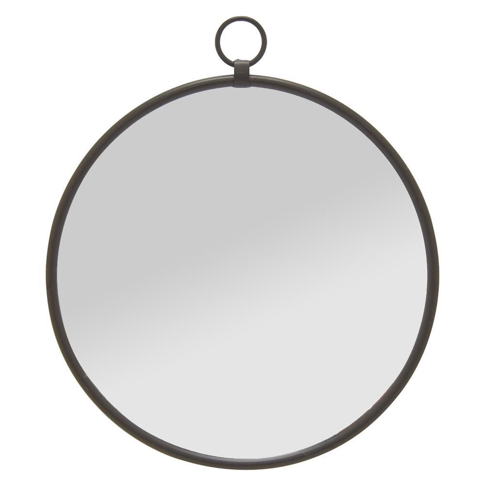 Wall Mirror- Black in Black Metal 24in L x 1in W x 27in H
