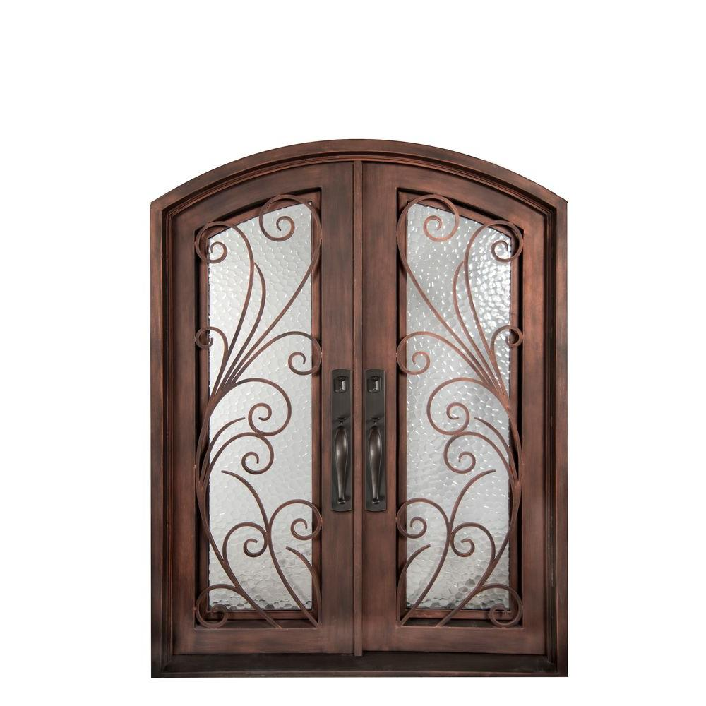 Iron Doors Unlimited 62 in. x 82 in. Flusso Classic Full Lite Painted Bronze Hammered Wrought Iron Prehung Front Door