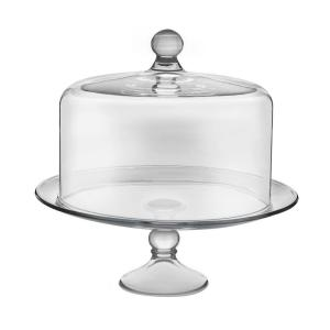 Libbey Selene 2 Piece Clear Glass Cake Stand With Dome 55782 The