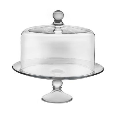 Selene 2-piece Clear Glass Cake Stand with Dome