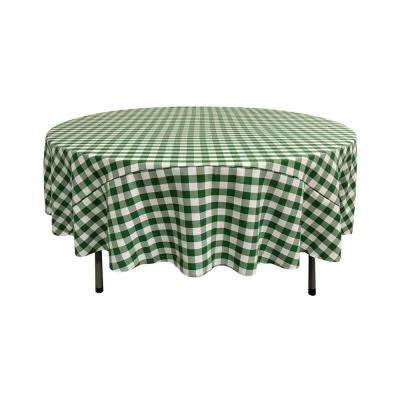 90 in. White and Hunter Green Polyester Gingham Checkered Round Tablecloth