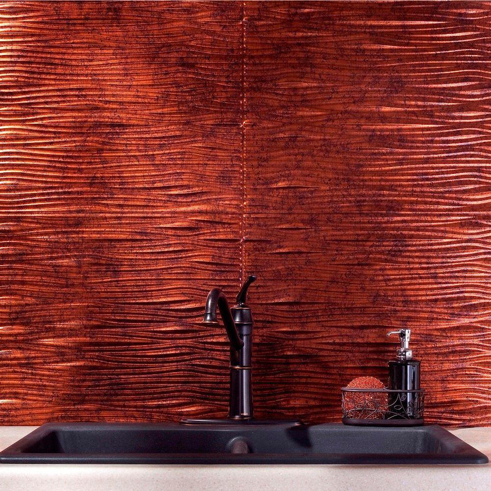 24 in x 18 in waves pvc decorative tile backsplash in moonstone copper