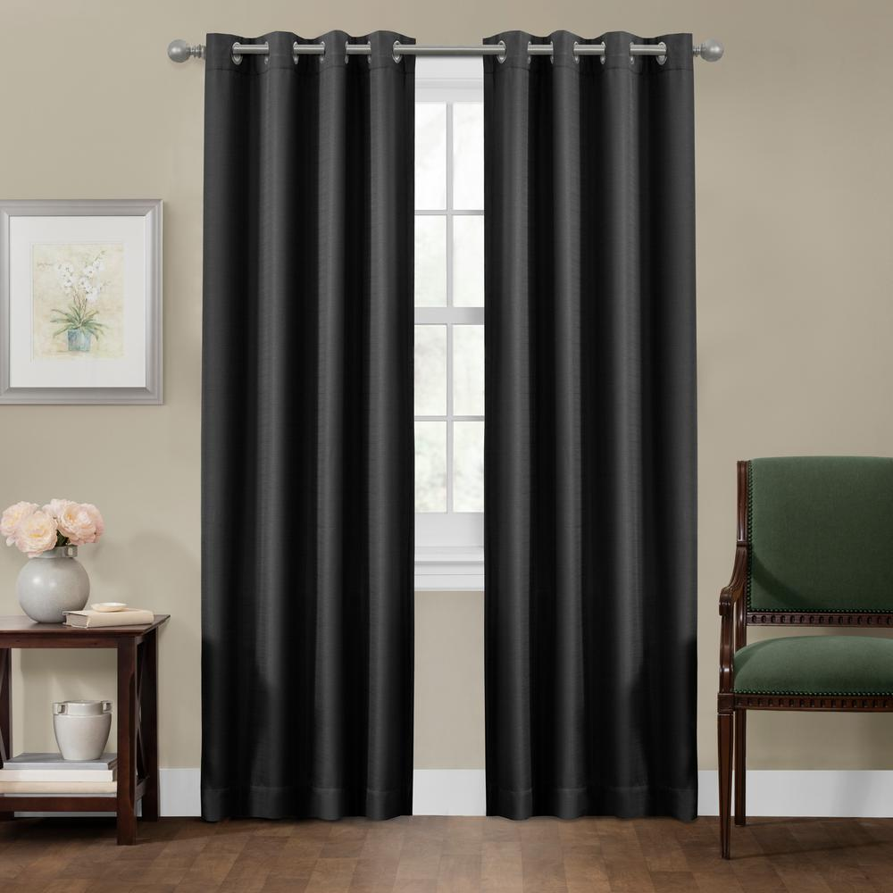 maytex sheridan 50 in x 84 in 100 blackout smart curtain window panel 5833y50x84blk the. Black Bedroom Furniture Sets. Home Design Ideas