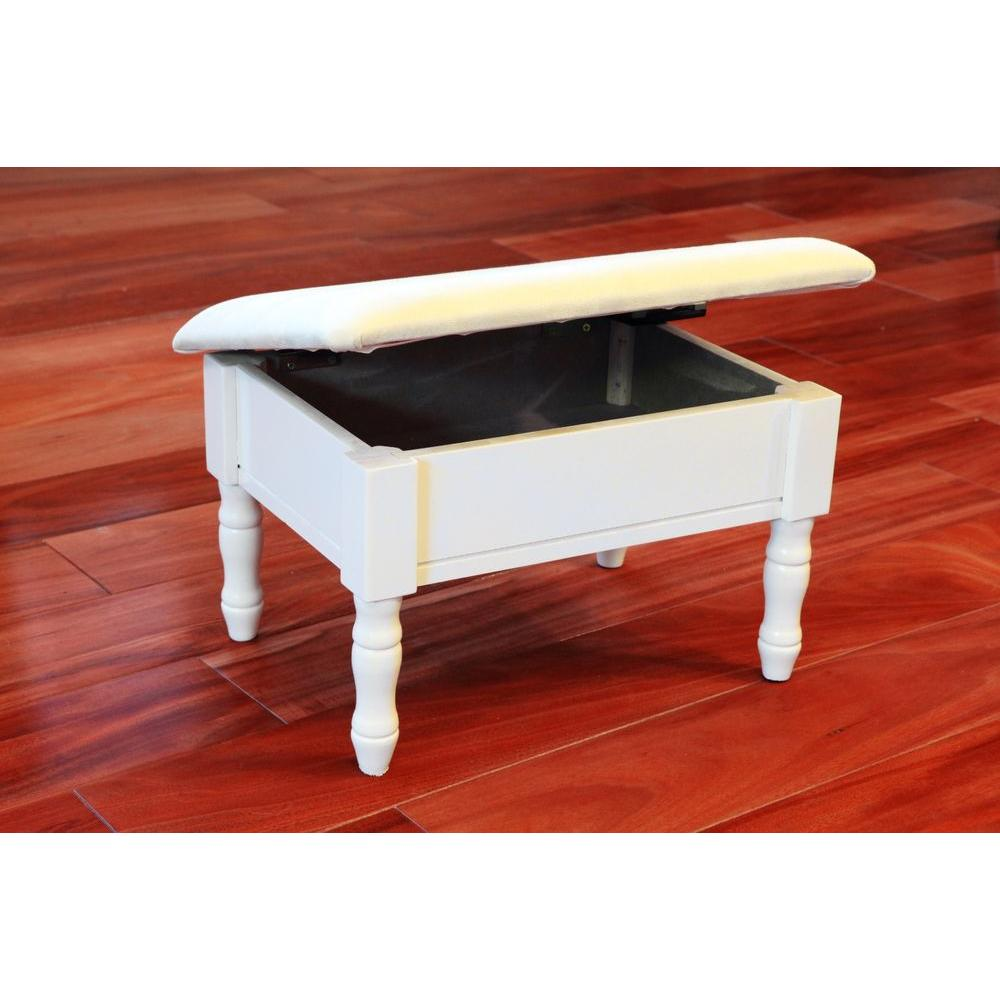 Admirable Homecraft Furniture White Accent Foot Stool H 51 Wh The Machost Co Dining Chair Design Ideas Machostcouk
